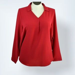 Christopher & Banks Red Popover Blouse Top